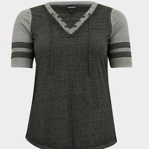 Torrid triblend lace up football tee